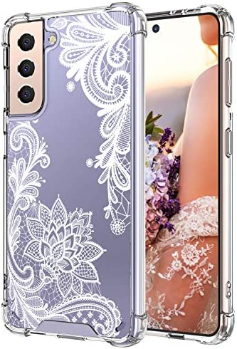Cutebe Cute Clear Crystal Case for Samsung Galaxy S21,Shockproof Series Hard PC+ TPU Bumper Yellow-Resistant Protective Cover for Women,Girls(White Floral Design)