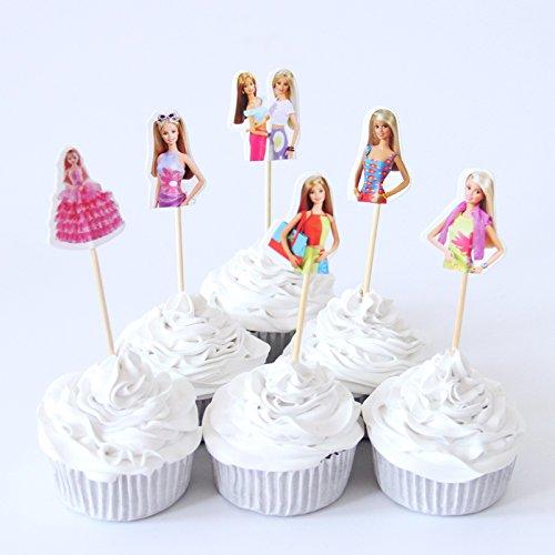 24pcs Barbie Doll CupCake Topper Gold Hair Princess Cupcake Topper Kids Birthday Party Decoration Supplies