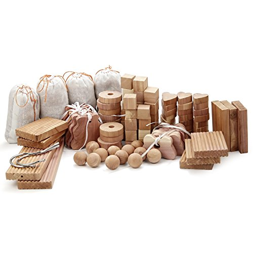 kilocircle 100 Items Cedar Valuable Pack with red Aromatic Cedar Blocks/Hang ups for Closet-Storage Accessories