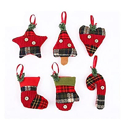 stock show christmas tree ornaments stocking decorations 6pcs set plaid christmas tree stockings candy cane star - Plaid Christmas Ornaments
