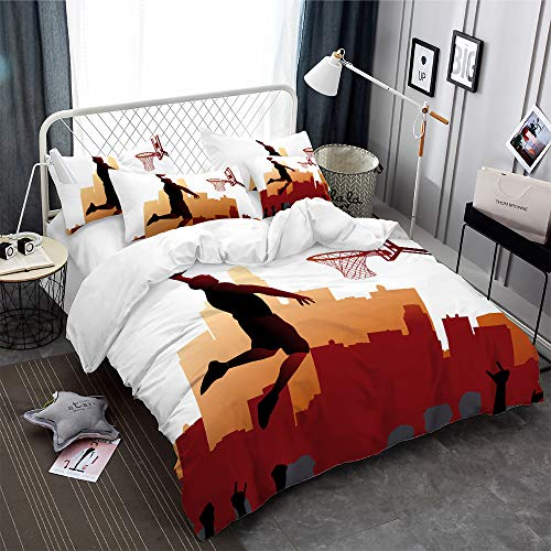 ARL HOME Sports Bedding 3 Piece Queen Size Basketball Duvet Cover Sports Boys Bedroom Decor 3D Slam Dunk Printing Quilts Cover with 2 Pillowcases for Children Teen Boy Adult Basketball Beding Set