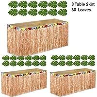 Adorox 3 Brown Table Skirt Hawaiian Luau Hibiscus Green Table Skirt 9ft + 36 Leaves