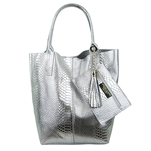 FreyFashion in Made Metallic Silber Cabas Italy femme Snake pour BB1nqUrH
