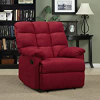 Prolounger Wall Hugger Microfiber Biscuit Back Recliner - Crimson Red - Living Room Furniture - Comfortable Chair - Perfect for Home Theater and Media Rooms - 100 Percent Polyester Microfiber Fabric - ISTA 3A Certified - 1 Year Product Warranty