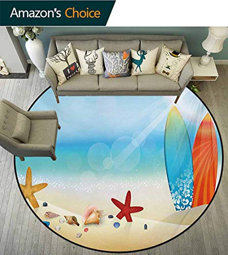 - Seashells Modern Machine Washable Round Bath Mat,Holiday Theme Sunglasses Beach Summer Surfboard Daytime Sunny Starfish Seashells Non-Slip Living Room Soft Floor Mat,Round-47 Inch