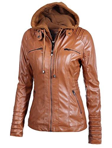 Giacca In Pelle Giacchetto Corto Mallimoda Zip Donna Hooded Marrone Ragazza Jacket Slim Giacche xZqAB0R