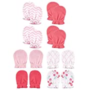 Luvable Friends Baby Scratch Mittens, Flowers and Chevron 8pk, 0-6 Months