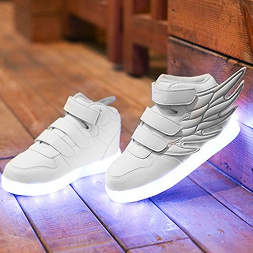 iBaste Ala USB movimiento LED niños brillo zapatos infantil 2016 NEW Primavera blanco