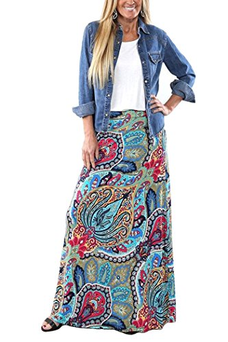 Yinggeli Women's Bohemian Print Long Maxi Skirt (XXX-Large, B-Flower)