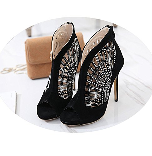 5cm Stivali spessi Khskx Heels 8 Sandali Cool Spring femminile Sheepskin And Bocca Garza Black Hollow Fishes Diamond Quaranta Summer the Shoes wq6p1w