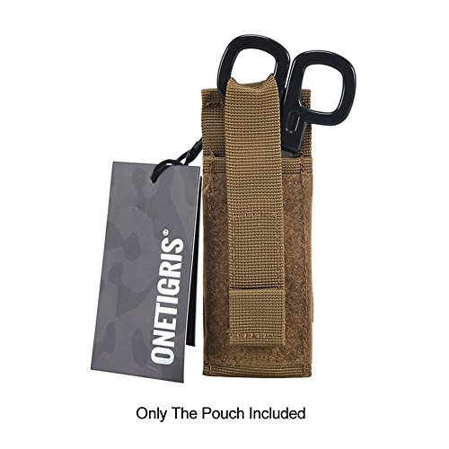 OneTigris Medical Shears Pouch Tactical EMT Scissor Sheath MOLLE Hand Tools Pouch (Upgraded Tan EMT Shear - Shears Sheath