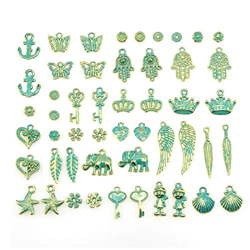 Green Elephant Charm - 50pcs Charms for Jewelry Making,Dainty Tibetan Ancient Green Charms Pendants Crafting Accessories for Necklace Bracelet Ankle Jewelry DIY Making