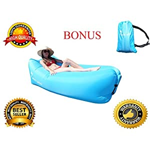 Woo Woo 2.0 Inflatable Lounger- Premium Air Mattress Sofa Bed- For Indoors & Outdoors-Camping,Hiking,Traveling,Park,Beach-Easy To Inflate- Puncture Resistant & Lightweight Air Couch (Blue)