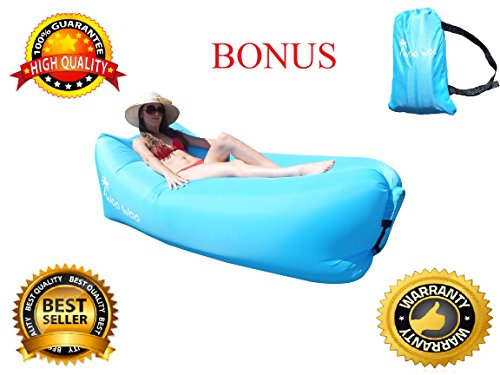 Woo Woo 2.0 Inflatable Lounger- Premium Air Mattress Sofa Bed- For Indoors & Outdoors-Camping,Hiking,Traveling,Park,Beach-Easy To Inflate- Puncture Resistant & Lightweight Air Couch - Flip Uk Up Sunglasses