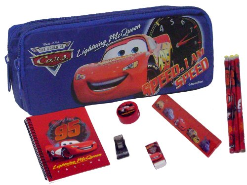 Disney Cars Blue Pencil Case + Stationery Set