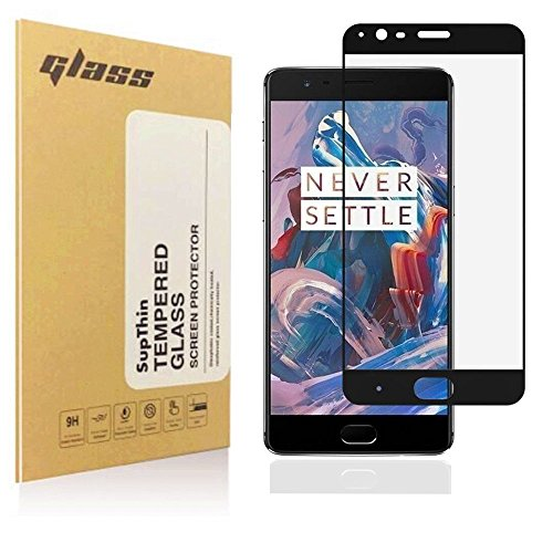 OnePlus 3 / OnePlus 3T Screen Protector, Supthin Tempered Glass Full coverage [Case Friendly][3D Curved Protection]HD Clear Tempered Glass Screen protector For OnePlus 3 / OnePlus 3T black