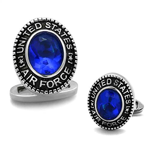 Stainless Steel Oval US Air Force Military Cufflinks with Blue Center (Stainless Steel Oval Cufflinks)