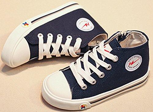 VECJUNIA Jungen Mädchen Hohe Lace up Seitliche Reißverschluss Spitze Segeltuch Sneakers Flach Stoffschuhe Dunkelblau