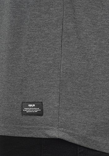 Imprimé solid T Camouflage Cajus Encolure À shirt Melange Longues Homme Rond 100 Grey Coton Manches 8236 77rUxwp5q