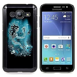 /Skull Market/ - Blue Marine Underwater Skeleton For Samsung Galaxy J2 - Mano cubierta de la caja pintada de encargo de lujo -