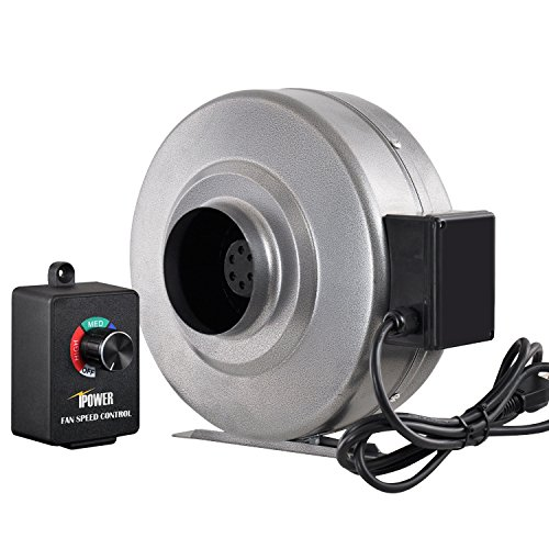 iPower 4 inch 206 CFM Duct Inline Fan HVAC Exhaust Blower Variable Speed Controller by iPower