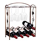 wine and glass rack - PENGKE Countertop Wine Rack, Tabletop Metal Wine Holder, Perfect for Home Decor & Kitchen Storage Rack, Bar, Wine Cellar, Cabinet, Pantry, etc,Hold 8 Wine Bottles and 8 Wine Glasses, Bronze