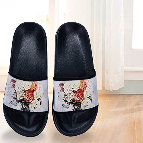 for Slippers Rose Non Quick Black Summer Beautiful Slip Slippers Womens Flowers Drying zS7aaq