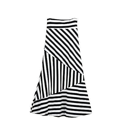 VEZAD High Waist Striped Fold Women Asymmetric Over Stretch Long Maxi Skirt White