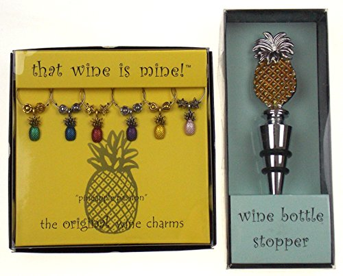 - Pineapple Wine Charms & Bottle Stopper Bundle