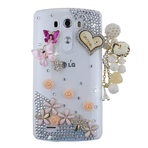 - STENES LG V20 Case - [Luxurious Series] 3D Handmade Shiny Crystal Bling Case With Retro Bowknot Anti Dust Plug - Heart Pendant Butterfly Flowers/Colorful
