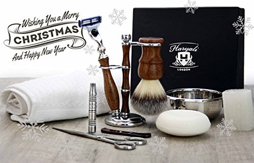 Wooden Luxury Shaving/Grooming Set For Men's.Perfect Gift Set For HIM This Christmas. Haryali London