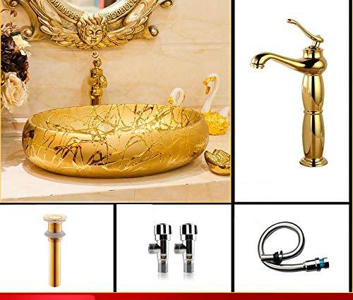 - ERGOUZI Oval European Style Chinese Washbasin, Art Ceramic Counter Washbasin Painted Bathroom Porcelain Basin Silver A One Set