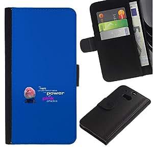 LECELL--Cuero de la tarjeta la carpeta del tirón Smartphone Slots Protección Holder For HTC One M8 -- Rosa polluelos divertidos --