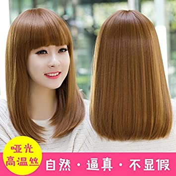 Amazon Com Woman With Long Straight Hair Wig Korean Air Bangs