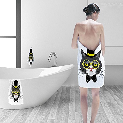 Bath towel set vector animal portrait of cat in tall hat polka dot bow and round yellow glasses vintage look cat dressed in retro style 3D Digital Printing No Chemical OdorEco-Friendly Non Toxic (Cat Around Bed Round)
