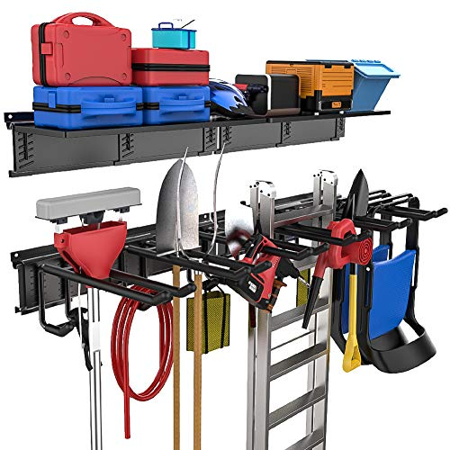 TORACK Garage Tool Storage Rack with Overhead Shelf, Adjustable Tool Organizer Holds Garden Tools, Ladder, Shovels, Rakes, Hoses, and More