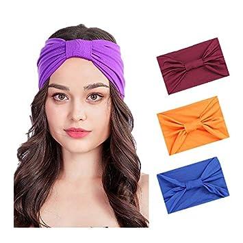 Women/'s Absorbing Sweatband Yoga Bands Headband Elastic Turban Sports Hair Band