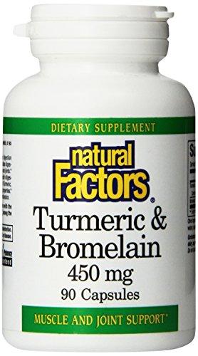 Природные факторы Куркума и бромелайн (300 мг / 150 мг) 450 мг Всего капсулы, 90-Count