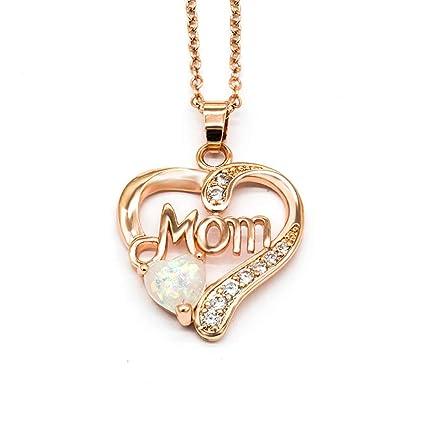 552414009bbe Maman amar Colgante corazón Chapado en Oro Rosa y Blanco Ópalo Collar  Dainty Collar con Colgante