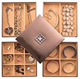 Stock Your Home Stackable Jewelry Organizer Trays  Lid for Jewelry Showcase Display  Jewelry Storage Holder for Earrings Bracelets Necklaces  Rings  Set of 4