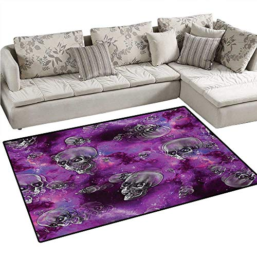 Skull Bath Mats for Floors Horror Movie Thirller Themed Flying Skull Heads Halloween in Outer Space Image Door Mat Indoors Bathroom Mats Non Slip 4'x6' Black and Purple -