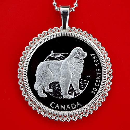 1997 Canada Discovering Nature 50 Cents Proof-like BU Uncirculated Sterling Silver Coin Solid 925 Sterling Silver Necklace NEW - Newfoundland Dog (Newfoundland Coin)