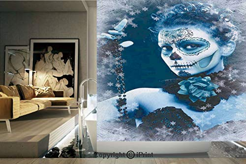 (Ylljy00 Decorative Privacy Window Film/Mexican Festive Celebration Roses Snowflakes Dead Art/No-Glue Self Static Cling for Home Bedroom Bathroom Kitchen Office Decor Light Grey and Light Blue)