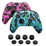 xbox one controller cover pink - 9CDeer 2 Pieces of Silicone Water Transfer Protective Sleeve Case Cover Skin + 8 Thumb Grips Analog Caps for Xbox One/S/X Controller, Camouflage Blue & Pink