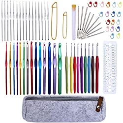 72 Pcs Crochet Hooks Set, Crochet Hooks Kit Plus Large Eye Blunt Needles Ergonomic Yarn Knitting Needles Marking Clips Tools Set with Crochet Needle Accessories