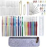 72 Pcs Crochet Hooks Set, Crochet Hooks Kit Plus Large Eye Blunt Needles Ergonomic Yarn Knitting Needles Marking Clips Tools Set with Crochet Needle Accessories: more info