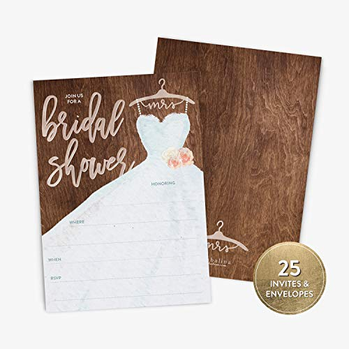 25 Bridal Shower Invitation with Envelopes, Modern Calligraphy and Rustic Wedding Dress Bridal Shower Invitation, Fill-in Style Invitation (25 Wedding Invitations)