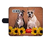 MSD Premium Designed S10e Flip Fabric Wallet Case Image ID: Brindle and Fawn American Staffordshire Terriers with Sunflowers and Pump 7