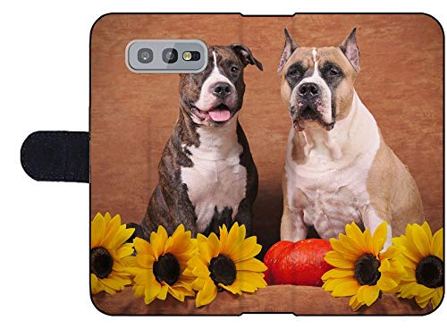 MSD Premium Designed S10e Flip Fabric Wallet Case Image ID: Brindle and Fawn American Staffordshire Terriers with Sunflowers and Pump 2