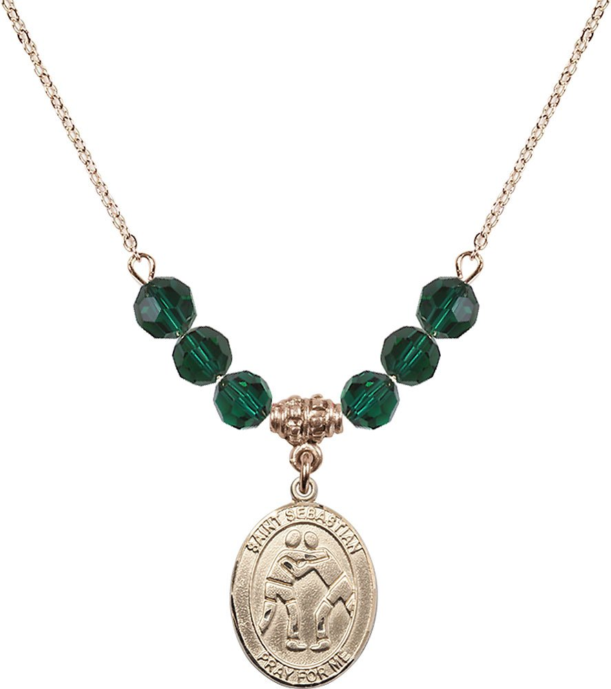 Gold Plated Necklace with 6mm Emerald Birthstone Beads & Saint Sebastian/Wrestling Charm.